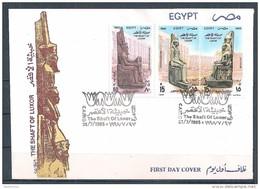 Egypte - 1995 - Envel. 1e Jour -  Pilier De Louxor - Statues Pharaoniques 18e Dynastie - Y&T #1547-1548 & AM#232 - Égypte