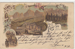 Gruss Vom Karer-See Hotel - Litho - 1898 - Oesterr.Frankatur     (A28-120625) - Italy