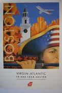 Avion / Airplane / Virgin Atlantic / To And From Boston / Advertising Card / Airline Issue