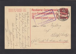 E.P. DE FRIBOURG VERS LE LUXEMBOURG,CENSUREE EN ALLEMAGNE 1917.GS NACH LUXEMBURG ZENSIERT IN DEUTSCHLAND 1917. - Entiers Postaux