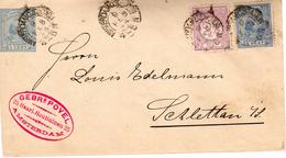 9 FEB  1894 Envelop G5 Met Firmalogo Van AMSTERDAM C:STATION  Met Bijfrankering NVPH 33 En 35 Naar Schlettau - Postal Stationery