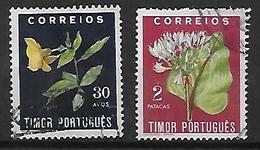 Timor 1950 N° 274 Et 277 Oblitérés Fleurs - Timor Oriental