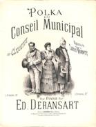 """Polka Du Conseil Municipal Sur """"Cliquette"""",. Partition Ancienne, Grand Format, Couverture Illustrée Bergé. - Partituras"""