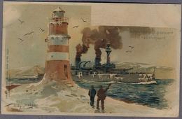 Linienschiff Passiert Friedrichsort Uber 1898y. Lighthouse  Leuchtturm Willy Grower D324 - Guerra