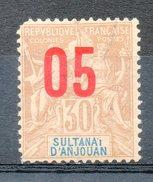 Ex-colonies & Protectorats (ANJOUAN) - 1912 - N° 25 - 05 S. 30 C. Brun - Anjouan (1892-1912)