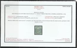 ITALIA REGNO ITALY 1863 VITTORIO EMANUELE II CENT. 5 LONDRA RE VITTORIO EMANUELE II MNH OTTIMA CENTRATURA CERTIFICATO - 1861-78 Victor Emmanuel II