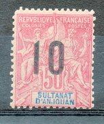 Ex-colonies & Protectorats (ANJOUAN) - 1912 - N° 28 - 10 S. 50 C. Rose - Ungebraucht