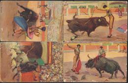 °°° 1916 - 4 CARTOLINE CORRIDA ILLUSTRATE DA C. RUANO LLOPIS °°° - Corrida