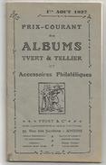 PRIX COURANT ALBUMS YVERT ET TELLIER AOUT 1937 - Catalogues De Maisons De Vente