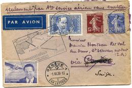 FRANCE LETTRE PAR AVION AVEC VIGNETTE J. MERMOZ + CACHET 1er TRANSPORT.......POUR LA SUISSE PUIS REEXPEDIEE EN FRANCE - 1927-1959 Briefe & Dokumente