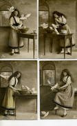 CENDRILLON - Avec Des Colombes , Jolie Jeune Fille - La Série De 4 Cartes - Fairy Tales, Popular Stories & Legends