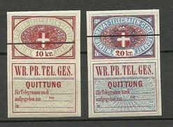 AUSTRIA Österreich Telegraph 10 Kr. & 20 Kr. Wiener Privat-Telegrafen-Gesellschaft * - Telegraphenmarken