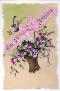 CP - Fantasie Fantaisie - Devotie Devotion - Vive Ste Catherine - Fleurs Bloemes - Carte Celluloid - St. Catherine