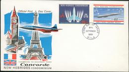 Enveloppe 1er Jour Concorde New Hébrides  9 Oct 68 - Aéreo