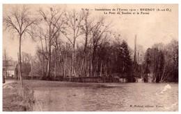 91 - BRUNOY -- Inondations De L'Yerres 1910 - Le Pont De Soulins Et La Ferme - Brunoy