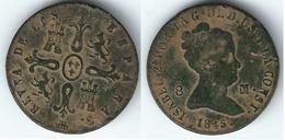 ESPAÑA ISABEL II  8 MARAVEDIS SEGOVIA 1845 COBRE 0217 Z - [ 1] …-1931 : Reino