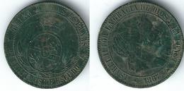 ESPAÑA ISABEL II  2 Y MEDIO CENTIMO ESCUDO 1867 SEGOVIA COBRE 0217 Z - [ 1] …-1931 : Reino
