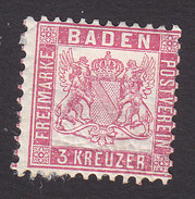 Baden, Scott #20, Mint Hinged, Coat Of Arms, Issued 1862 - Bade