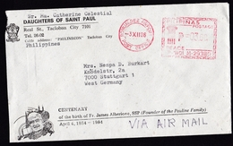 Philippines: Airmail Cover To Germany, 1986, Meter Cancel Romualdez Airport Post Office (minor Damage) - Filippijnen