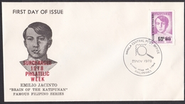 Philippines: FDC First Day Cover, 1978, 1 Stamp, Emilio Jacinto, Overprint Philatelic Week, Surcharged (traces Of Use) - Filippijnen