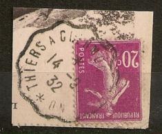 Convoyeur THIERS A CLEMONT FERRAND Sur Semeuse. 1932. - Marcofilia (Sellos Separados)