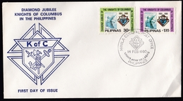 Philippines: FDC First Day Cover, 1980, 2 Stamps, Knights Of Columbus, Order (green Stamp Damaged, Crease) - Filippijnen