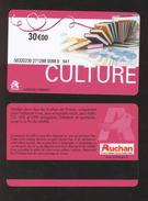GIFT CARD - Carte Cadeau Auchan - CULTURE - 30 € - Cartes Cadeaux