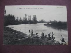 CPA 71 CHARETTE VARENNES Ex CHARETTE Bords Du Doubs RARE & BIEN ANIMEE Lavandières 1922 Canton PIERRE DE BRESSE - France