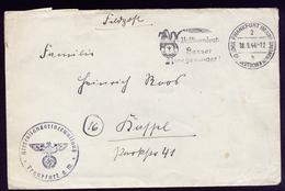A4566) DR Feldpostbrief Von Heeresstandortverwaltung Frankfurt / M. 18.9.44 - Briefe U. Dokumente