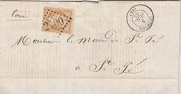 Yvert 21 Sur Lettre LOURDES Hautes Pyrénées GC 2100 8/7/1865 Pour Mairie ST PE Taxe Officieuse Sur Pain - Viande - 1862 Napoléon III.