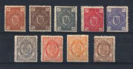 ANDORRA) 1875 - Serietta 9 Val MLH Non Emessi - Precursori