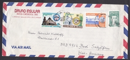 Philippines: Airmail Cover To Germany, 1979, 4 Stamps, Church, Irrigation, From Inter Continental Hotel (traces Of Use) - Filippijnen