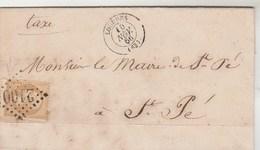 Yvert 21 Sur Lettre LOURDES Hautes Pyrénées GC 2100 10/11/1866 Pour Mairie ST PE Cachet Perlé Taxe Sur Pain Viande - 1862 Napoleon III