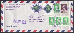 Philippines: Airmail Cover To Germany, 1977, 7 Stamps, Philately, Famous Persons (minor Damage, See Scan) - Filippijnen
