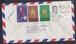 Philippines: Airmail Cover To Germany, 4 Stamps, TB Charity, President (discolouring, See Scan) - Filippijnen