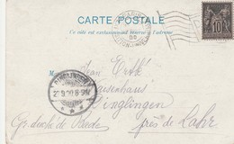 France Paris Flamme Drapeau Sur Carte 1900 - Postmark Collection (Covers)