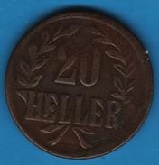 DEUTSCH OST AFRIKA 20 HELLER 1916 T Copper  Wilhelm II   KM# 15 - East Germany Africa