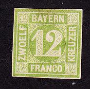 Bavaria, Scott #13, Mint Hinged, Number, Issued 1862 - Bavaria