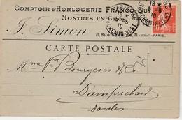 Carte Commerciale 1910 / J. SIMON / Comptoir Horlogerie Franco-Suisse / Montres / Paris - Cartes
