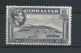 GIBRALTAR    1938    1 1/2d  Slate  Violet       MNH - Gibraltar