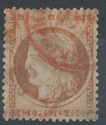 Lot N°35538   Variété/n°38, Oblit ROUGE à Déchiffrer (étrangére ???), Belle Teinte Marron - 1870 Beleg Van Parijs