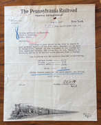 TRENI THE PENNSYLVANIA RAILROAD TRAFFIC DEPARTMENT  NEW YORK  MILANO IL 9/6/1927 - Stati Uniti