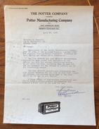 THE POTTER COMPANY POTTER MANUFACTURING COMPANY  CHICAGO - MILANO. IL 30/4/1929 - Stati Uniti