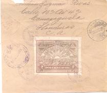 HONDURAS AÑO 1925 PARTE POSTERIOR DE CARTA CON RARO TIMBRE SIN DENTAR 170A YVERT TELLIER FUERA DE CATALOGO - Honduras