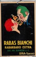 "Carton 17cm X 26 Cm_Pubblicità_Advertising_Ill.Mauzan""RABAS BIANCHI"" Rabarbaro Extra_Soc.An.Bianchi & C._BRA_TORINO-Orig - Plaques En Carton"