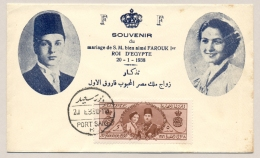 Egypte - 1938 - Marriage Of King Farouk And Queen Farida On Cover FDC Souvenir