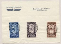 Egypte - 1938 - Congres International Du Coton - Set On Piece With Cancel Cataract Hotel Aswan