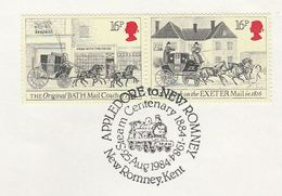 1984 GB Stamps  COVER EVENT Pmk APPLEDORE NEW ROMNEY STEAM RAILWAY Anniv Train - Trenes