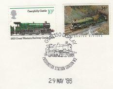1985 GB Stamps  COVER EVENT Pmk PADDINGTON RAILWAY STATION DISPLAY GWR TRAIN Anniv Steam Train - Trains