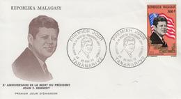 Enveloppe  FDC  1er  Jour    MADAGASCAR    Président   John  KENNEDY   1973